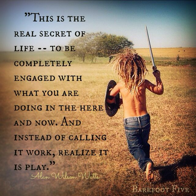 """This is the real secret of life -- to be completely engaged with what you are doing in the here and now. And instead of calling it work, realize it is play."" ~Alan Wilson Watts ..* ~☆~"