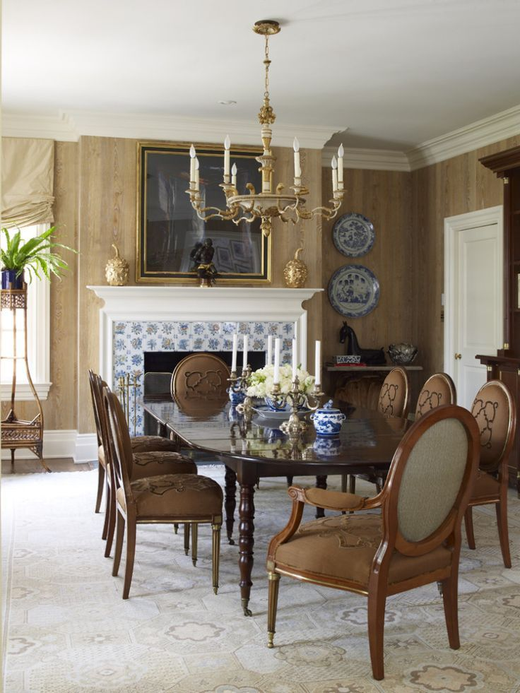 Attractive In A Dining Room By Alex Papachristidis, A Handmade Reproduction Of An  Antique Samarkand Carpet Brightens The Wood Grainu2013papered Walls And Cues  The ...
