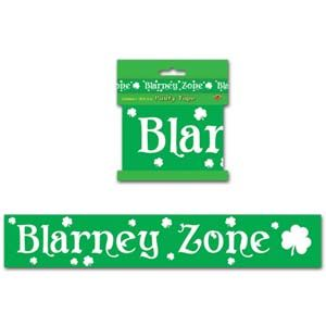 BE33121 - Blarney Zone Party Tape Party Tape Blarney Zone St Patrick's  - Day All Weather Poly (7cm High x 6 Metres Long.) Please note: approx. 14 day delivery