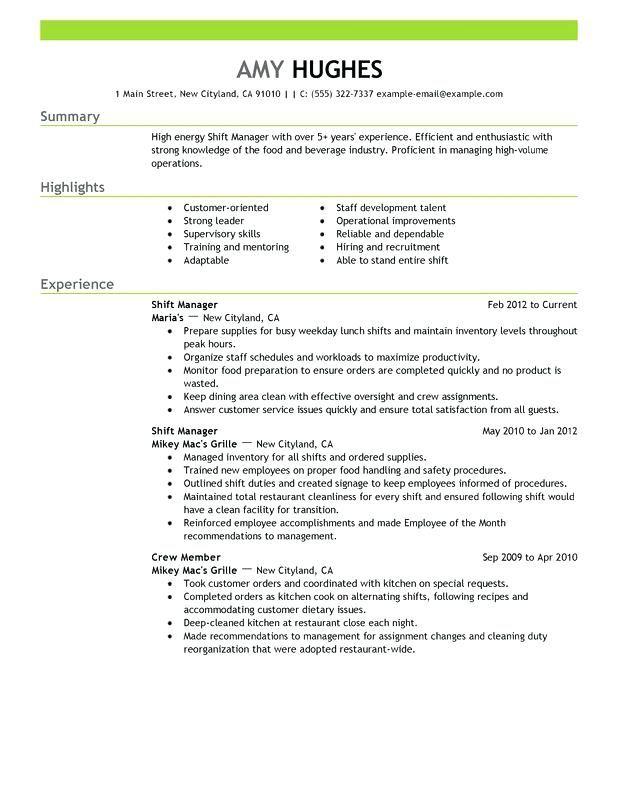 Resume Examples For Restaurant Restaurant Resume Examples