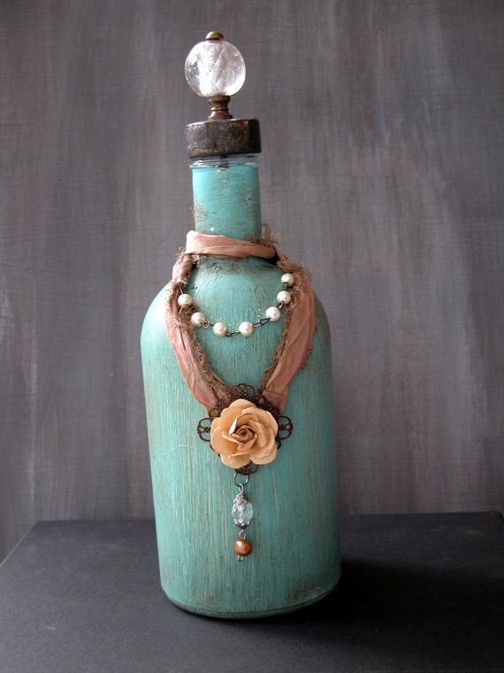 Turquoise Patina Painted Glass Bottle by painterlex on Etsy, $39.00