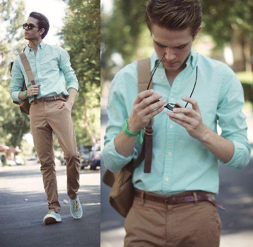 summer colorColors Combos, Men Clothing, Mint Green, Menfashion, Fashion Style, Shirts, Men Fashion, Summer Colors, Man Style