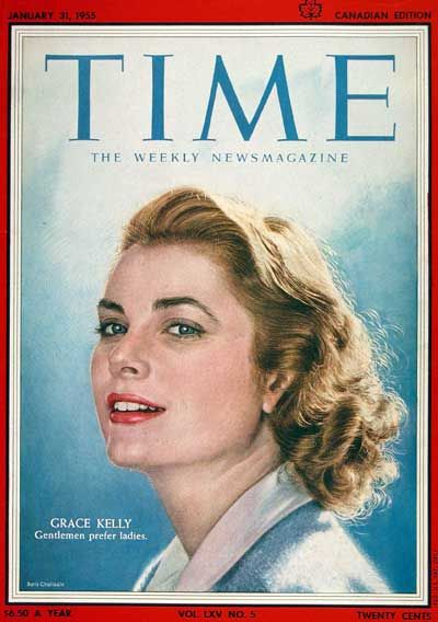 1955 original vintage Time magazine cover featuring Grace Kelly.