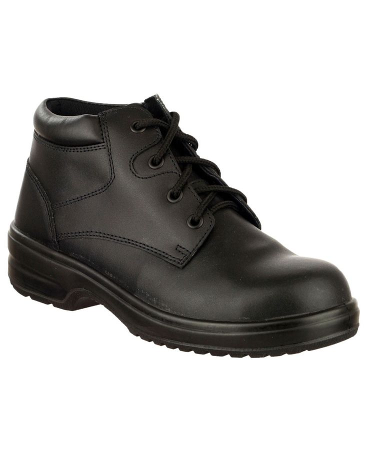 Ladies Black Leather Four Eyelet Lightweight Safety Boots