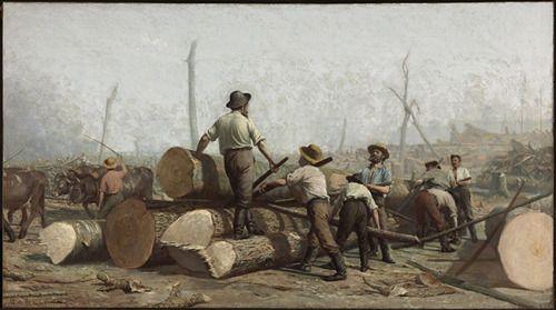 George A. Reid (1860-1947) - Logging, oil on canvas, 107,4 x 194 cm. 1888.