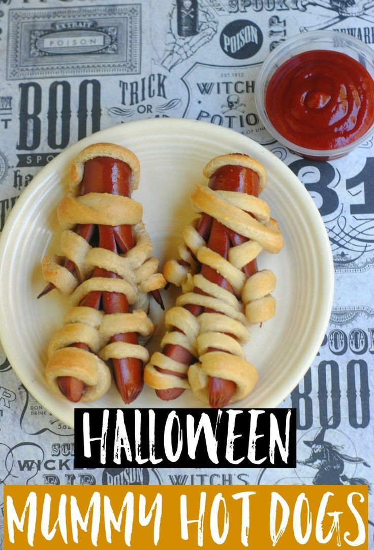 Halloween Mummy Dogs - wrapped hot dogs