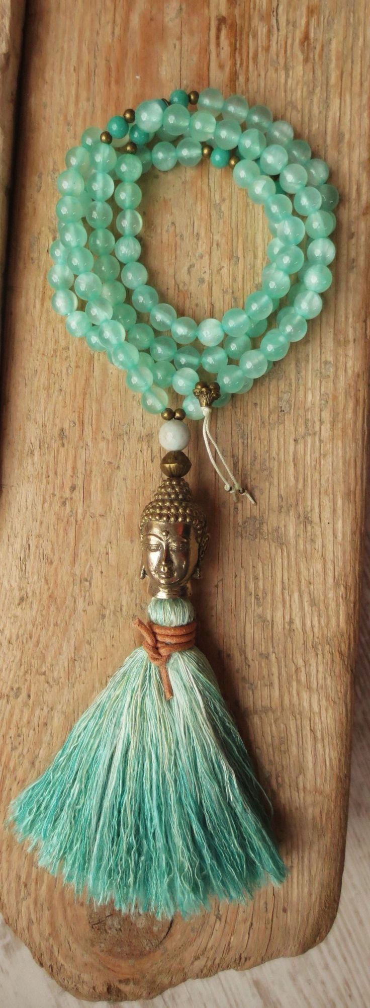 prayer beads necklace 108 mala Jade sea green Buddha brass handmande unique ooak yoga bali hippie love boho bohemian tribal turquoise
