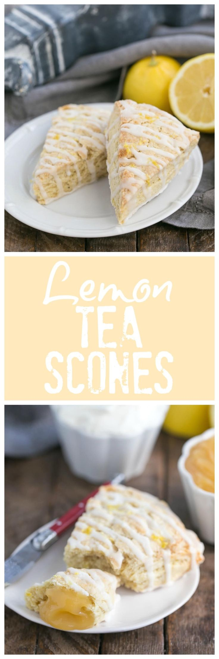 Glazed Lemon Tea Scones | A citrus infused scone enhanced by English breakfast tea @lizzydo
