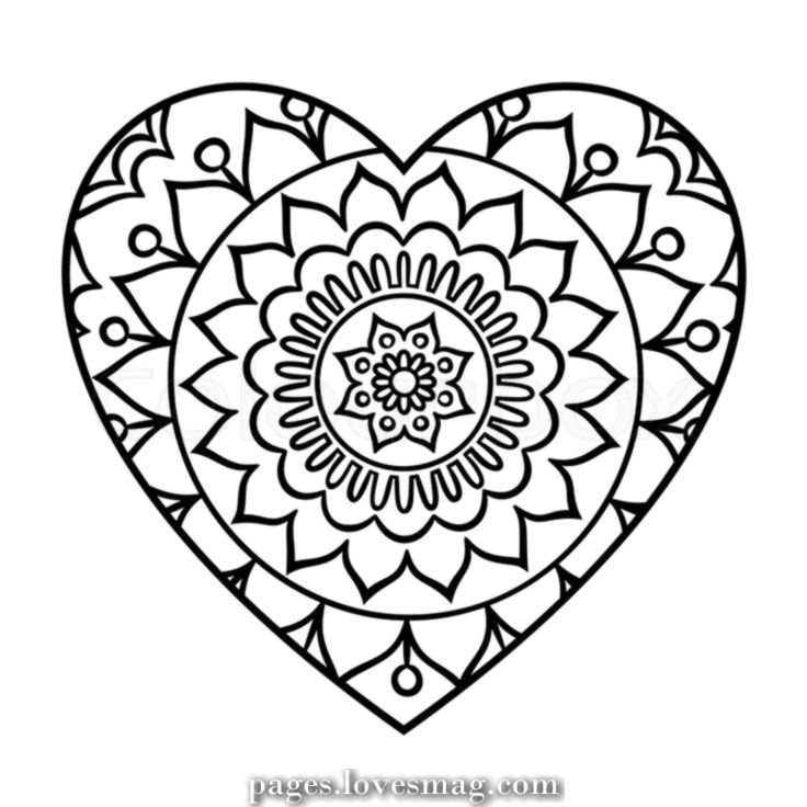 Exceptional Mandala Of The Guts Heart Coloring Pages Mandala Coloring Heart Doodle