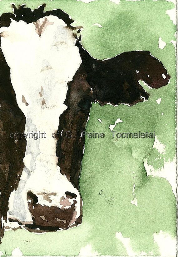 Cow art original watercolor painting black and white cow painting holstein cow…