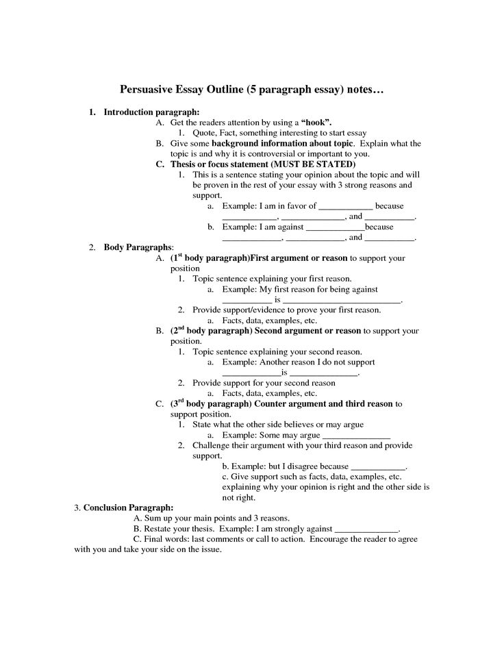 outline argumentative essay Persuasive essay outline 101308 1 p 0 parts of the persuasive essay a persuasive essay is an argument in writing.