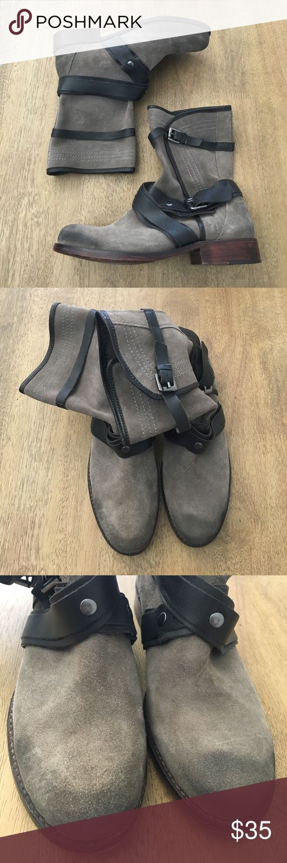 Jon Josef Slouchy Rustic Leather Suede Boots 7 In great condition, minor wear, slouchy boots. Strappy details, slip on style, wooden heel. Size 7.     ❌No try ons ❌No trades ⚜️Please send offers through the offer option! Anthropologie Shoes Ankle Boots & Booties