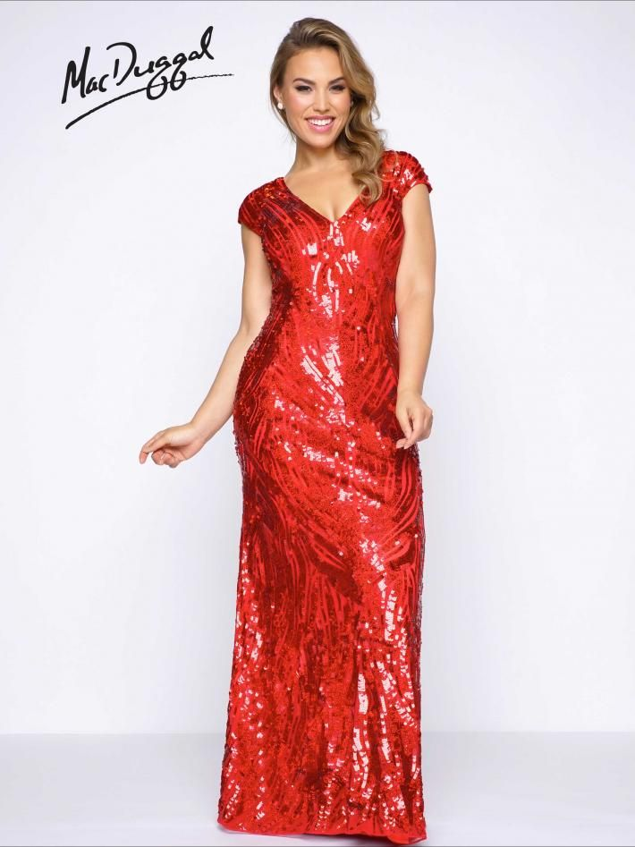 Red Plus Size Prom Dress | Mac Duggal 4532F Cap sleeve, deep v-neck, fully sequined column prom dress. Available in Red and Royal Purple.