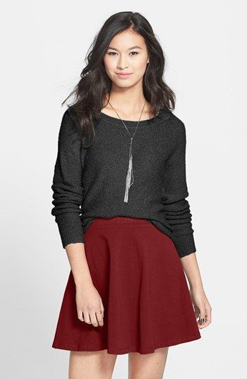 $16, Burgundy Skater Skirt: Lily White Skater Skirt Burgundy Large. Sold by Nordstrom. Click for more info: https://lookastic.com/women/shop_items/44116/redirect