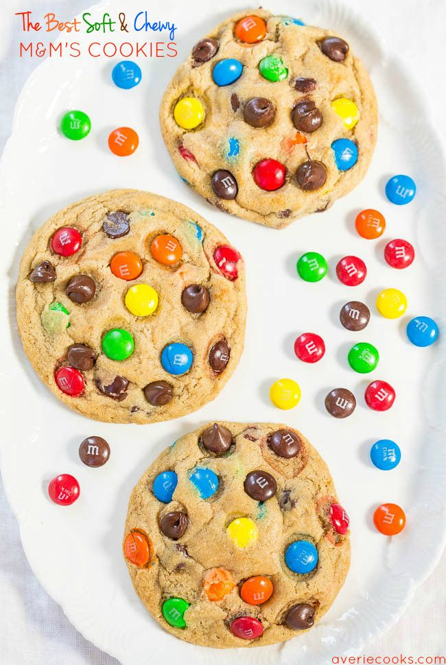 The Best Soft and Chewy M&M'S Cookies - Big, bakery-style cookies you can make at home that are BETTER than the bakery's! An easy recipe for the classic cookies everyone loves!!
