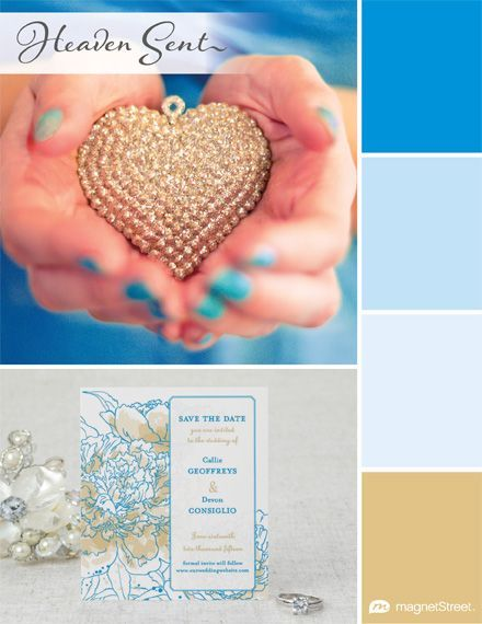 My favorite wedding color palette: Heaven Sent   MagnetStreet Weddings #winMSW