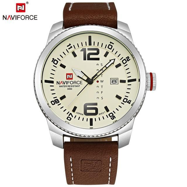 28f12e252b4 NAVIFORCE Luxury Brand Men Sport Watches Men s Quartz Clock Man Army  Military Leather Wrist Watch Relogio