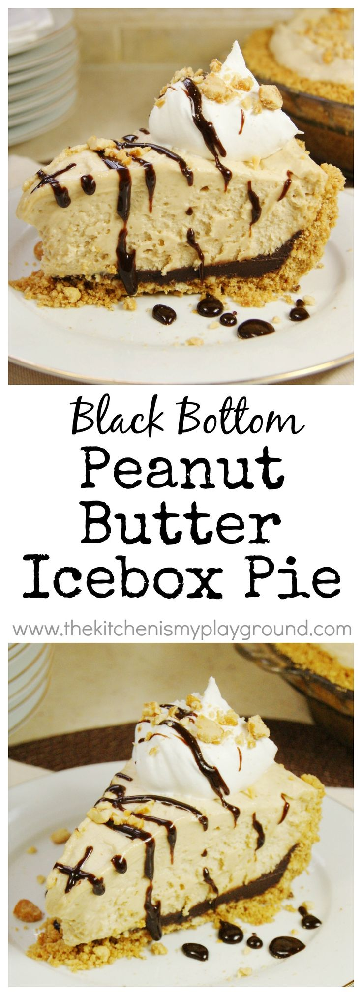 Black Bottom Peanut Butter Icebox Pie ... creamy peanut butter mousse filling on top of a chocolate ganache-lined graham cracker crust.  Yes, please! www.thekitchenismyplayground.com