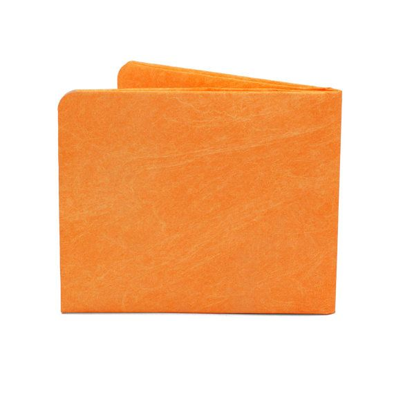 Paper-Thin Wallet Unisex for Men & Women - Vintage Orange Design - Made in Tyvek - Eco-friendly and 100% Recyclable
