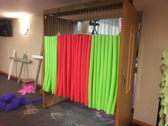 We made did this to 2 wide doorways using pool noodles