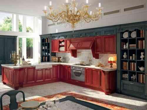 cuisine déco en rouge et noir