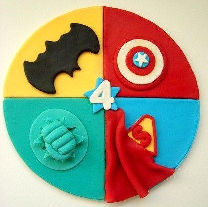 SuperHero Fondant Cake Topper, Superman - Hulk - Batman - Captain Amerika Edible Cake Topper, SuperHero Birthday Party - pinned by pin4etsy.com
