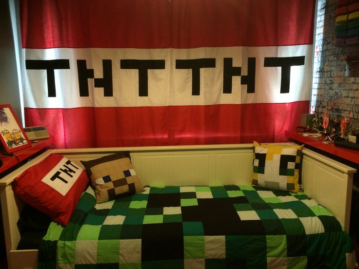 Minecraft bedding, curtains and cushions all handmade to order by I'm In Stitches on Facebook
