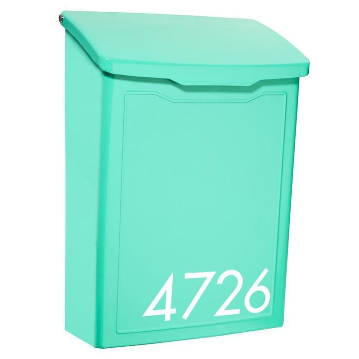 Personalized Modern Mailbox Teal Wall Mount Steel Contemporary Metal Letter Box With Custom Number In 2020 Modern Mailbox Unique Mailboxes Metal Mailbox