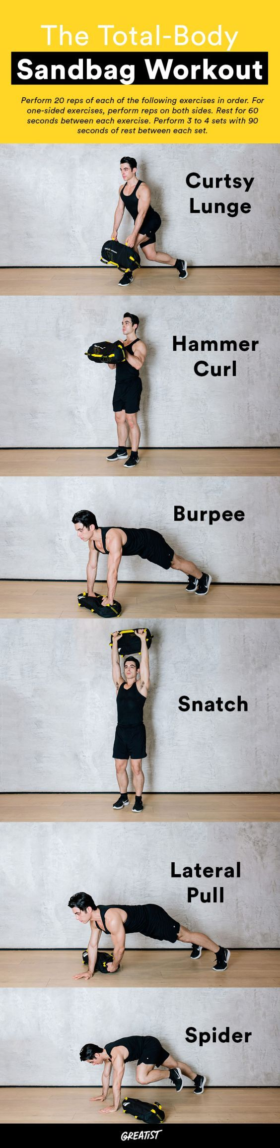 There's no sandbagging this workout.  #greatist https://greatist.com/fitness/compound-exercises-sandbag-moves-for-strength