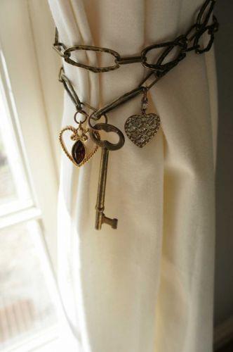 Curtain Tie back Antique Brass Chain Heart Skeleton Key Metal Unique Curtain tieback