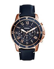 Grant Sport Chronograph Blue Leather Watch