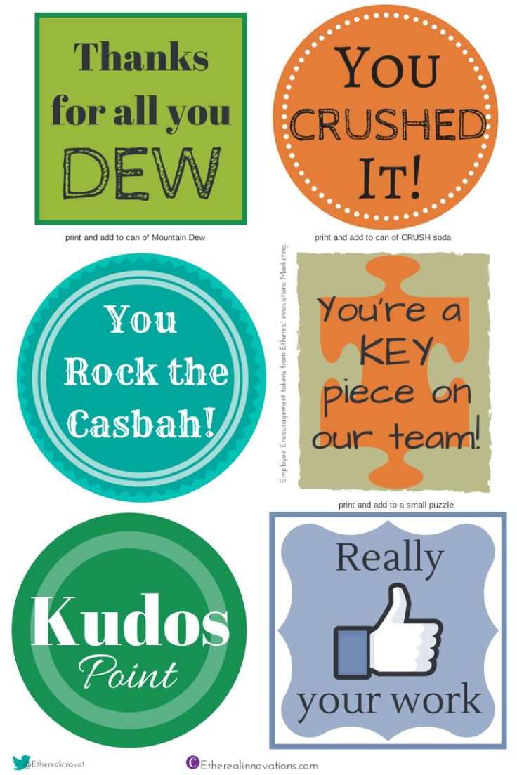 Employee engagement gifts | Appreciation badges | coworker ideas |  Encourage your team | More free