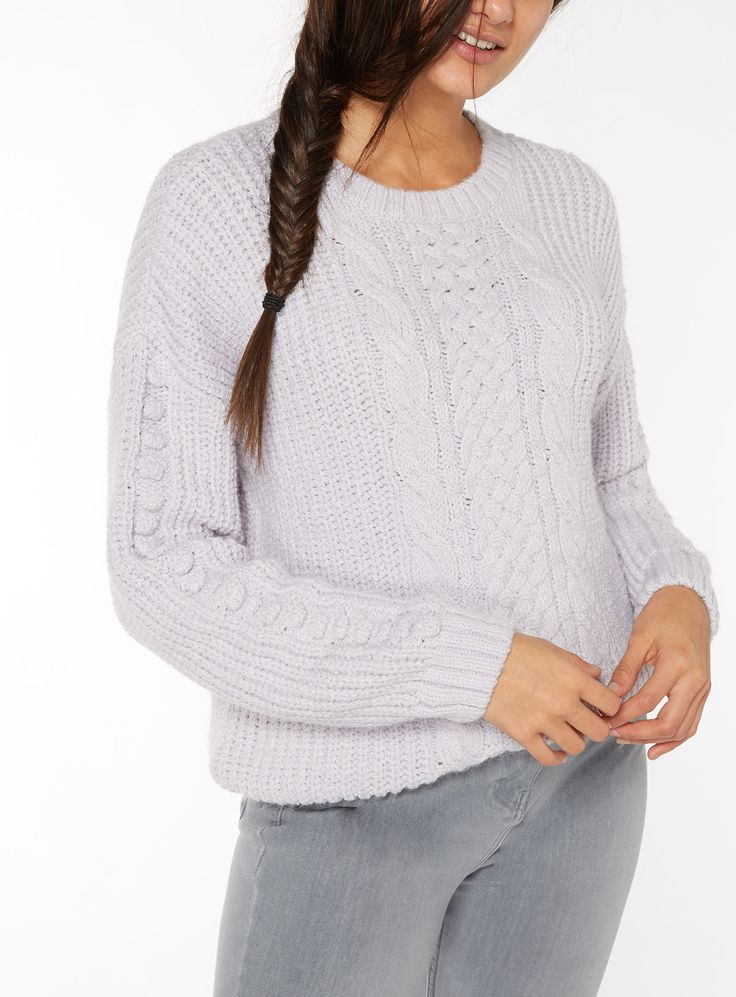 Elevate your off-duty wardrobe with this delicate light purple jumper, which showcases a stylish armadillo sleeve accented with bobble embroidery, a crew neckline and cable knit design. Finished with ribbed hems, this will pair perfectly with light denim boyfriend jeans and trainers. Light purple armadillo sleeve jumper Cable knit Crew neckline Ribbed hems Armadillo sleeve Bobble embroidery Relaxed fit Model's height is 5'9'' Model wears a size 12