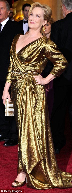 Best actress Meryl Streep's golden gown was part of the eco-friendly green gown campaign organised by Colin Firth's wife Livia, Oscars 2012