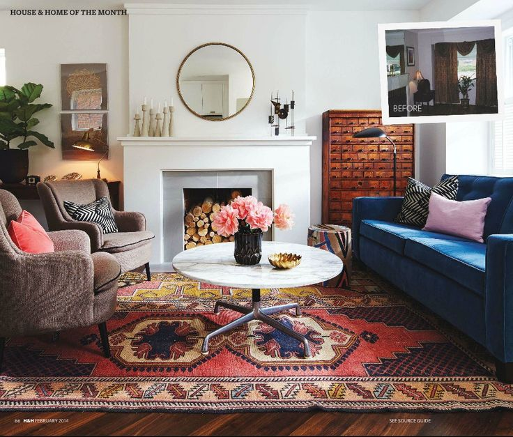 House And Home Interior Design Part - 32: Blue Couch, Rugs, Round Mirror (Canadian House And Home Via Elements Of  Style)