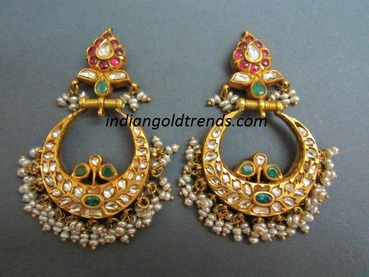 Latest Indian Gold and Diamond Jewellery Designs: Chandbali Earrings