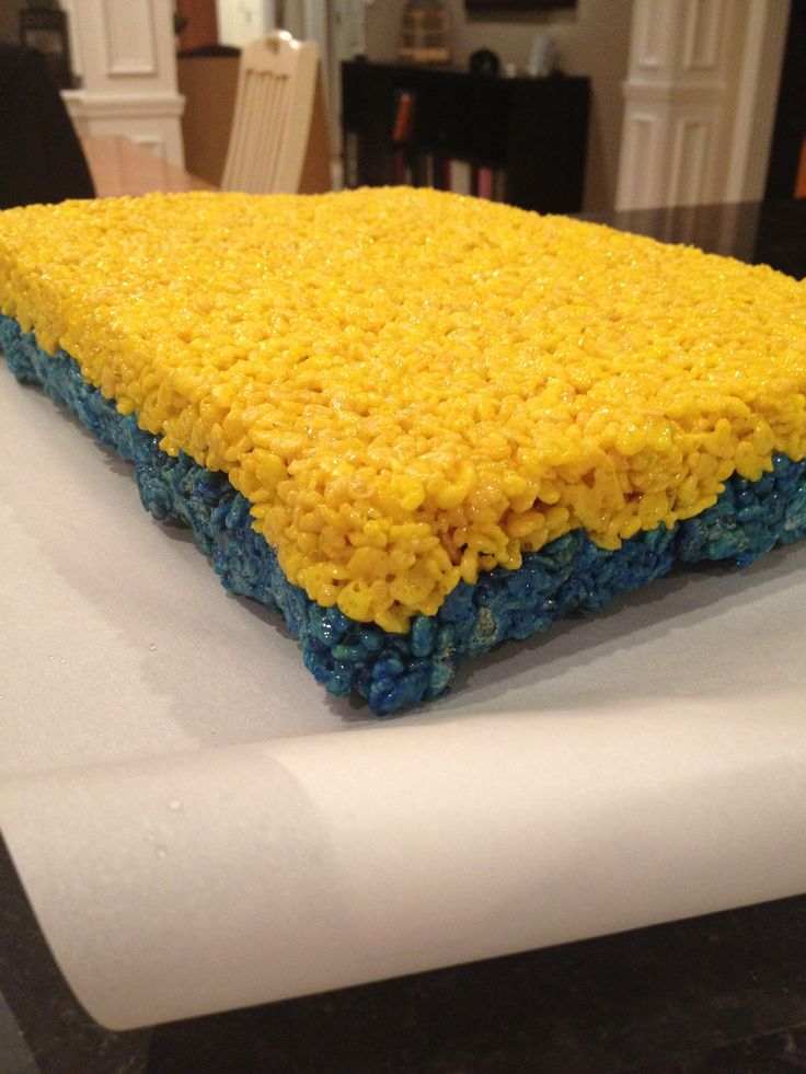 Blue and Yellow Rice Krispie Treats to match our Skyline Chili themed birthday party.