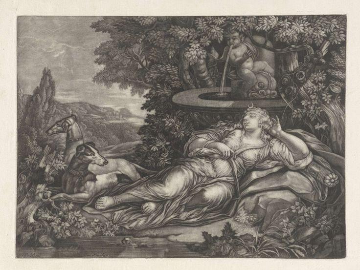 Anonymous | Slapende Diana, Anonymous, Gerard Valck, 1662 - 1726 | In een boomrijk landschap ligt Diana, de godin van de jacht, bij een fontein te slapen. Aan haar voeten liggen twee jachthonden.