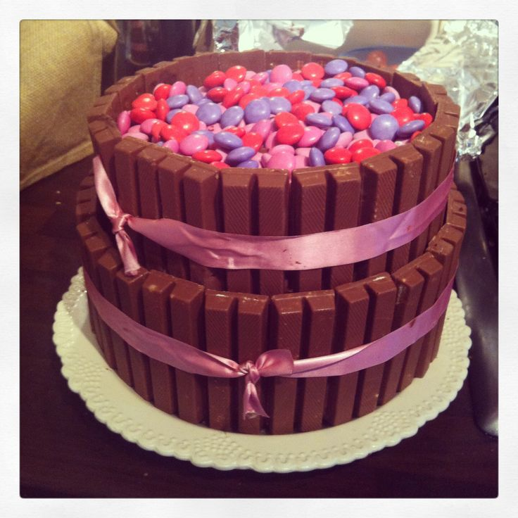 Girls birthday cake pink smarties and kitkats #chocolatecake #pink #smarties