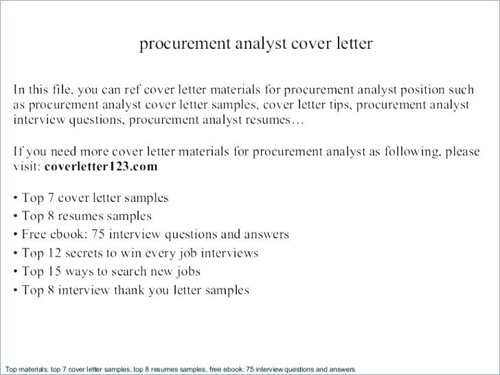 Procurement analyst cover letter 2019 Resume Templates sample of ...
