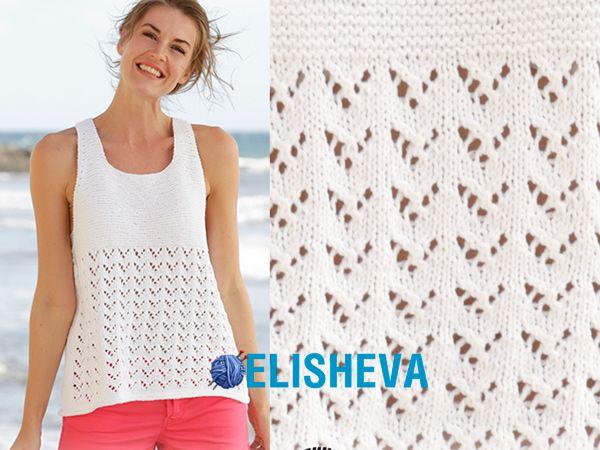 Вяжем спицами красивый летний топ: описание и схема узора | Блог elisheva.ru