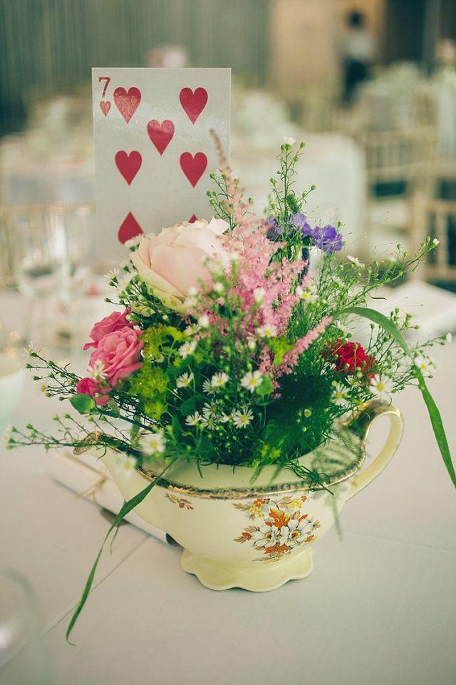 Tea Pot Playing Card Flowers Playful Alice in Wonderland Fete Wedding http://www.lifelinephotography.co.uk/