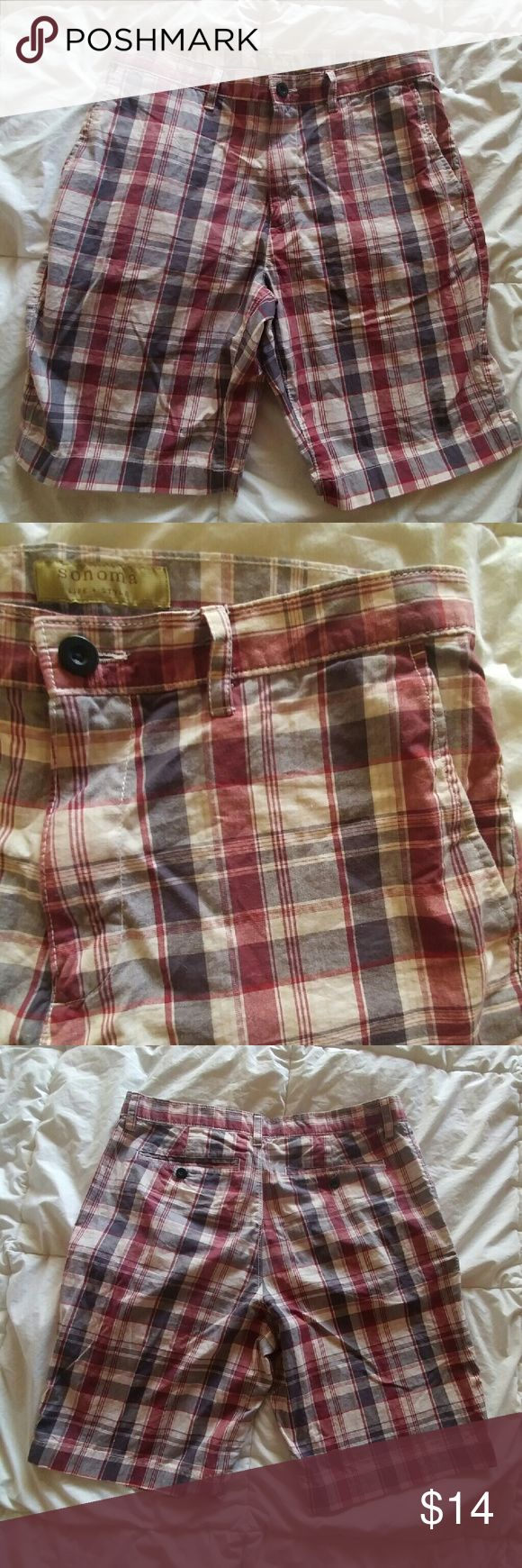 NWOT Men's Plaid Shorts Plaid shorts by Sonoma Similar size and style to J. Crew  Perfect condition  Polo also available J. Crew Shorts