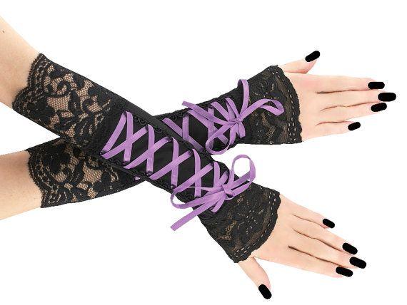 Black purple long fingerless gloves arm warmers by FashionForWomen