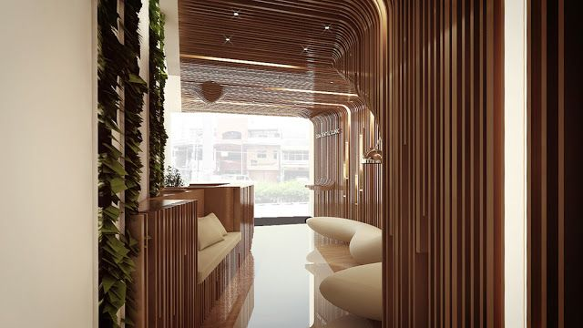 DesignDaily: Oda Dental Clinic introduces a warm welcoming lobby through its unique design. Inspired by ornamental quality of a mouth, Meta- creates a fluid space mimicking a mouth by using wooden