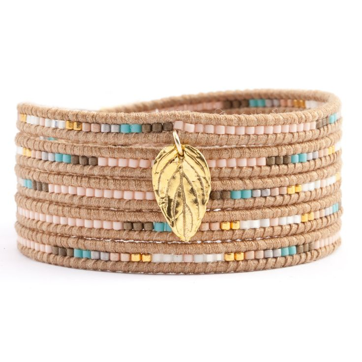 Chan Luu - Salmon Coral Mix Charm Wrap Bracelet on Beige Leather, $205.00 (http://www.chanluu.com/wrap-bracelets/salmon-coral-mix-charm-wrap-bracelet-on-beige-leather/)