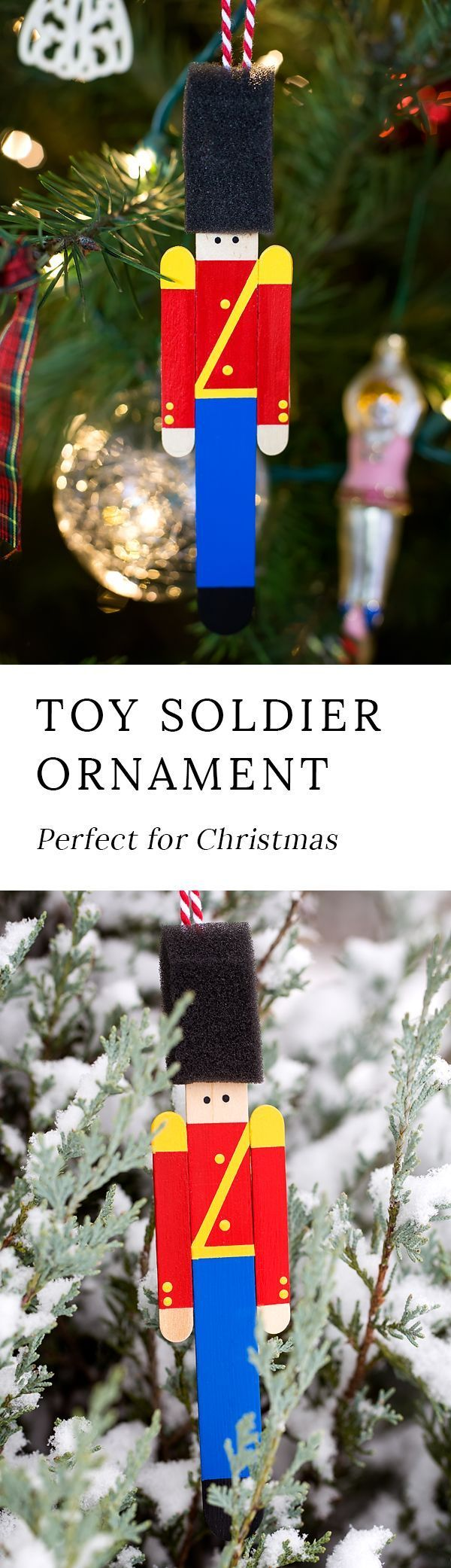 Crafters big and small will delight in making Wooden Toy Soldier Ornaments with craft sticks, paint, and one extra unique craft material. #christmas #KidsCrafts #christmasornaments