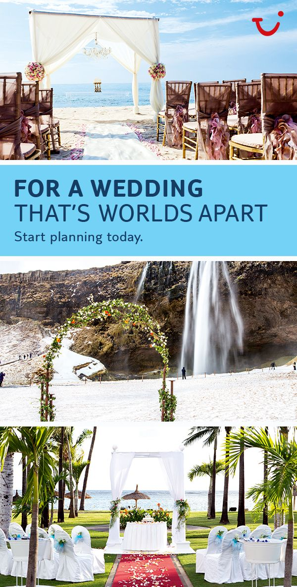 "Thomson Weddings offer a different kind of wedding. You can tie the knot in a front of a waterfall in Iceland, or say ""I do"" on a white sandy beach. Click on the pin to find your dream wedding!"
