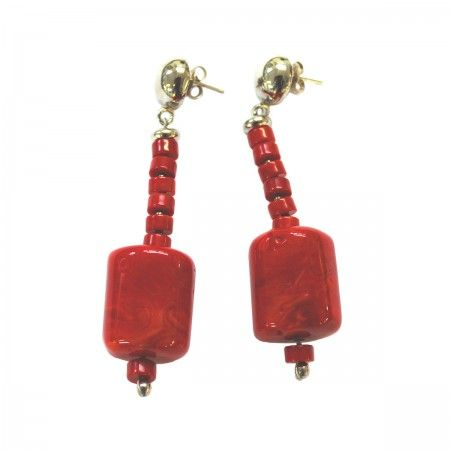 Lacrom - Sharra Pagano - Earrings Pending stud earrings with colored resin bead.