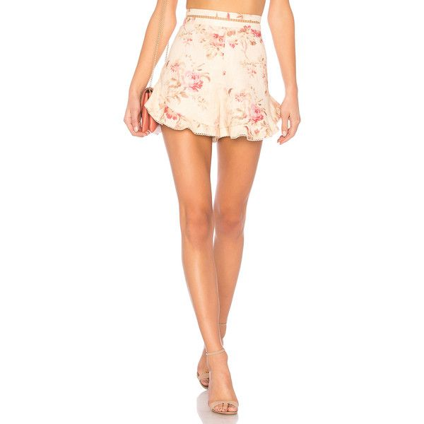 Zimmermann Corsair Flutter Short (490 AUD) ❤ liked on Polyvore featuring shorts, swim, ruffle trim shorts, frill shorts, highwaist shorts, flounce shorts and short swim shorts